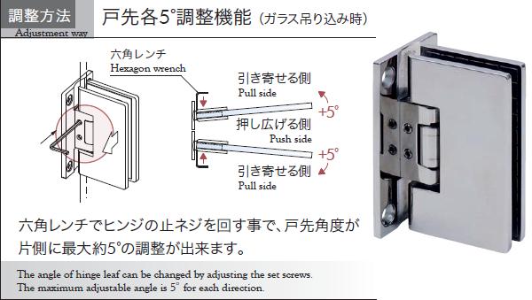 ガラス吊り込み時 六角レンチで各5 の戸先調整 ガラス 壁 六角