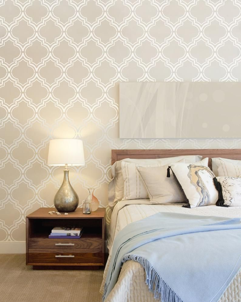 Moroccan Double Large Wall stencil pattern, Moroccan