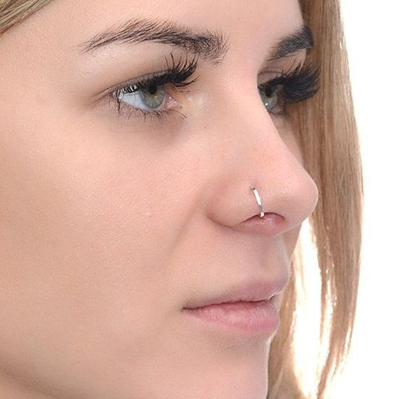 Square Turquoise Silver Nose Hoop Nose Ring 20 Gauge