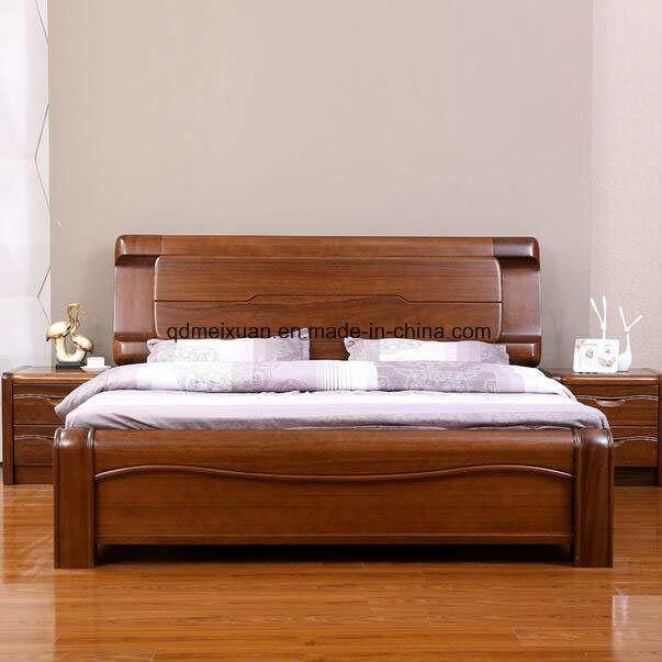 Cama de madera maciza modernas camas dobles (MX2349