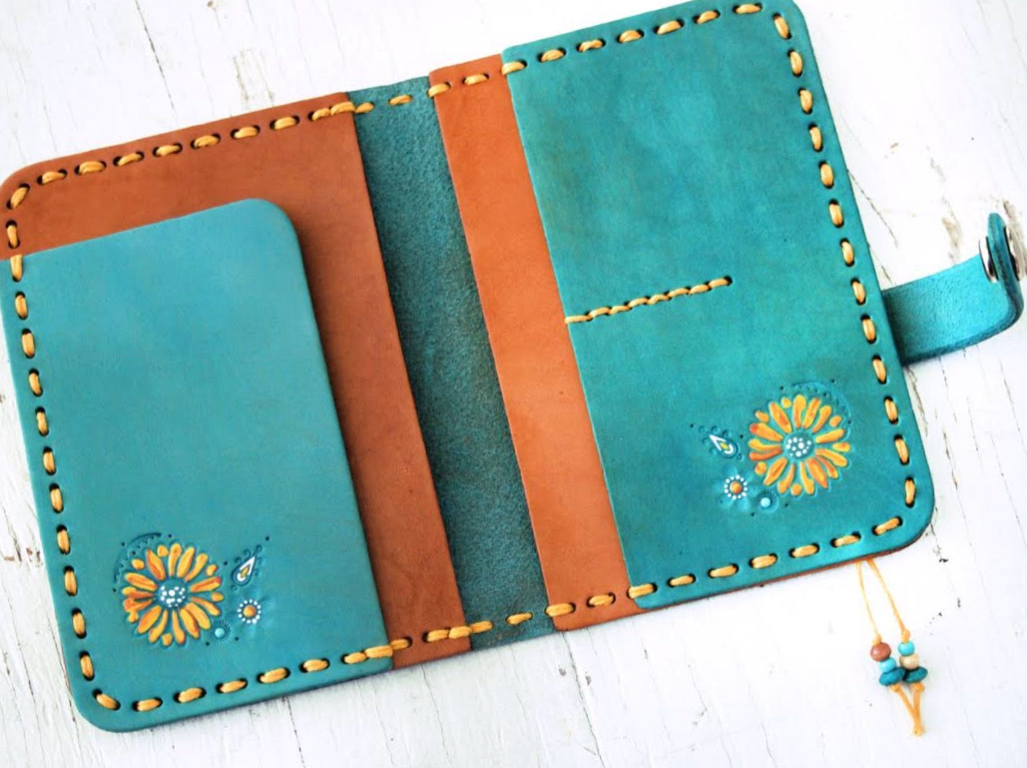 Leather Passport Cover – Turquoise Dreamcatcher – Steer skull and sunflowers – Day of the Dead Southwestern Feathers – Made to Order