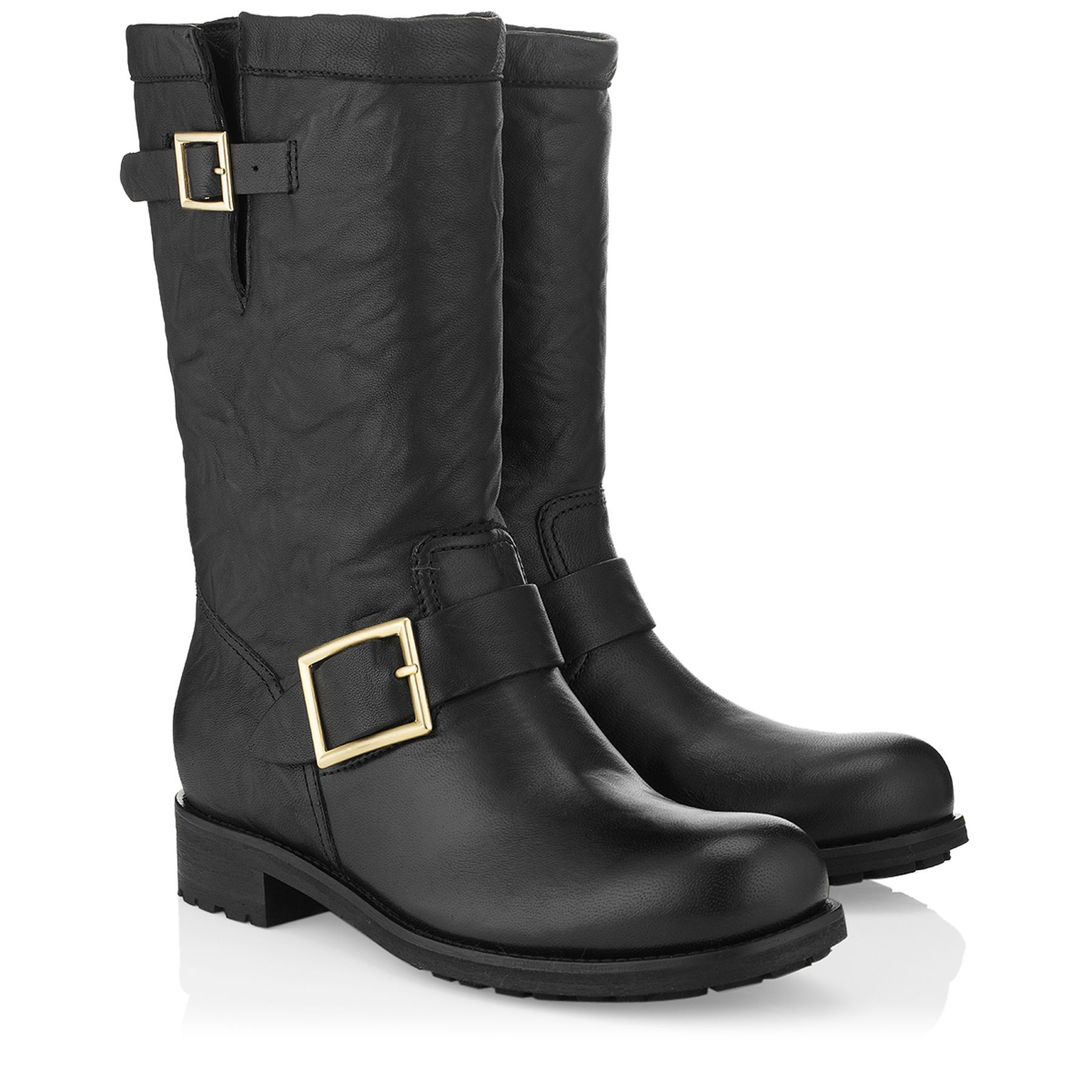 Black biker leather biker boots unlined from Jimmy Choo Discover our  boots collection and shop for the latest trends today