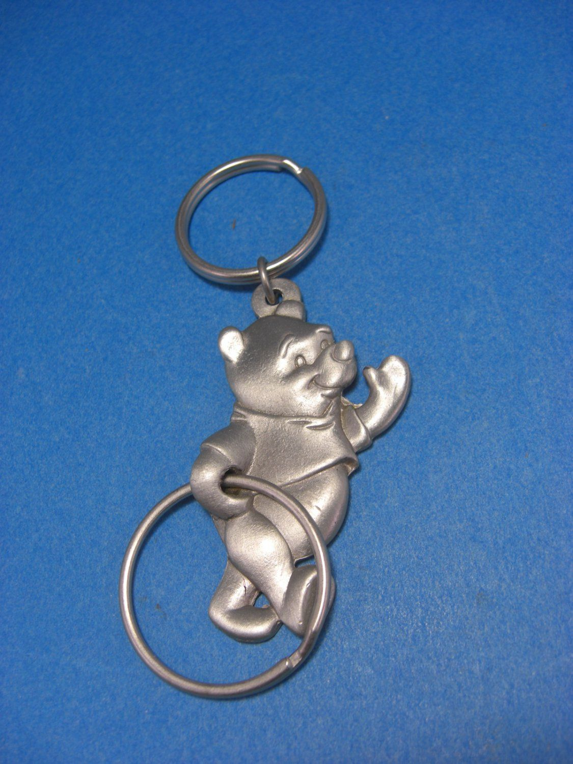 8d95280e3b87 Disney Winnie The Pooh Silver PEWTER KEYCHAIN Key Chain Double Key Ring
