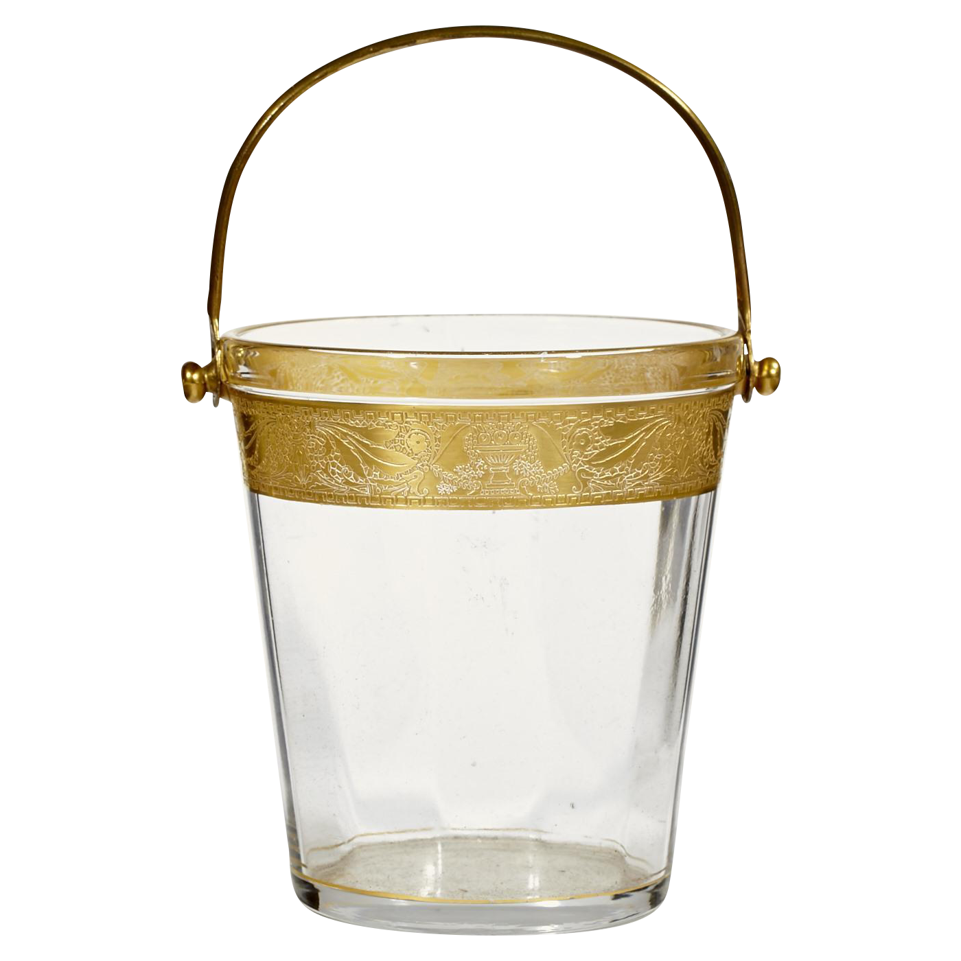 1930's Gilt-Accented Glass Ice Bucket on Chairish.com