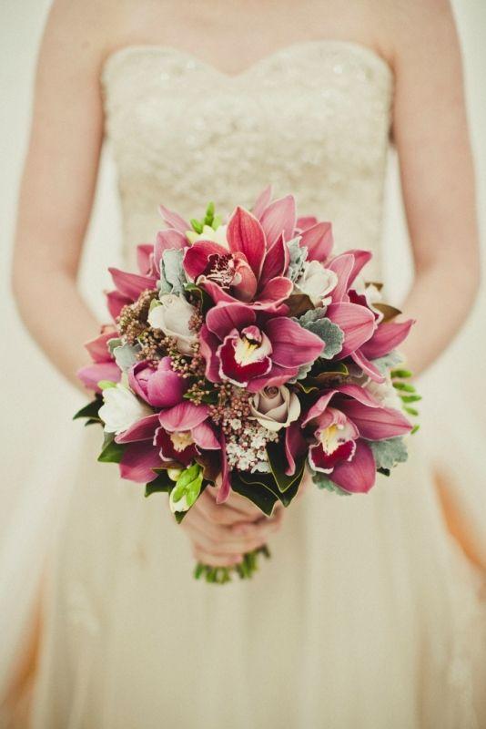 Burgundy Cymbidium Orchids Creme De Menthe And Metallina Roses Flowering Vibernum Tinius Orchid Wedding BouquetsOrchid
