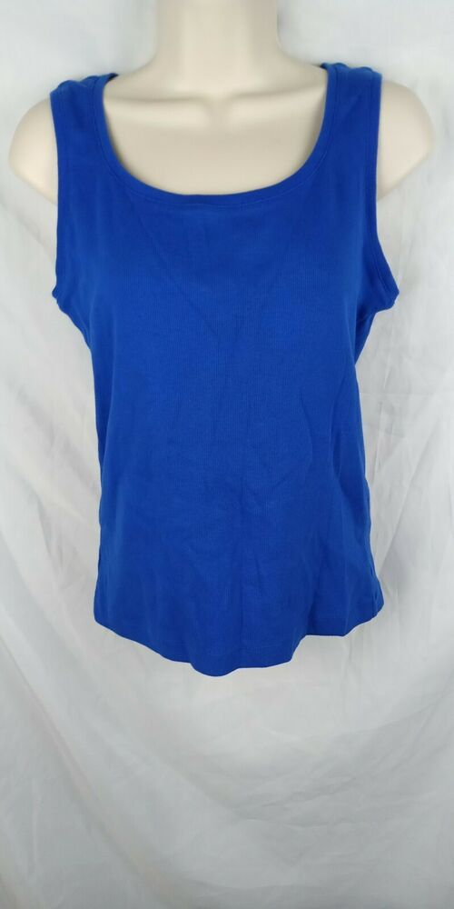 9274da7a41f98 Chico s Misses 1 MEDIUM 8 10 Blue Ribbed The Ultimate Tee Tank Top Shirt   Chicos  TankTop