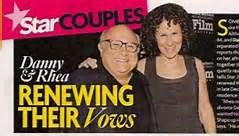 Danny DeVito and Rhea Perlman       Sharing a profession and stature worked out well for the acting and producing couple of Danny DeVito and Rhea Perlman, who celebrate their 30th wedding anniversary on January 28, 2012. Together, the award winners have three children, Lucy, Grace and Jacob. Both have also won Emmy Awards with DeVito winning for his role on Taxi and Perlman for her role on Cheers