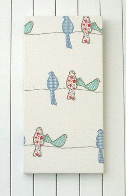 Nursery girls room chic quality fabric covered canvas wall for Bird nursery fabric