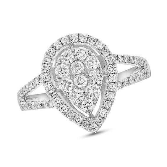 f3906e9c0612 T.w. Composite Diamond Pear · Split ShankPear ShapedEngagement RingWhite ...