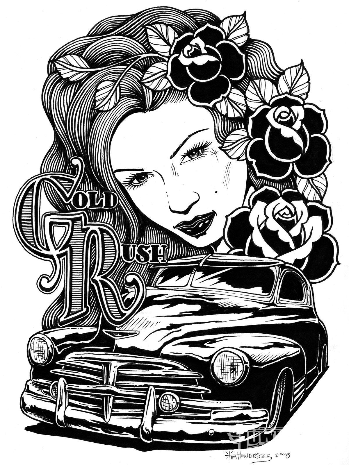 art by Tim Hendricks Art, Rockabilly art, Canvas wall