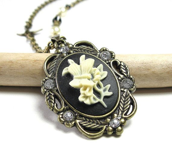 Vintage Style Victorian Cameo Necklace from jewelry by NaLa https://www.etsy.com/listing/113823959/vintage-style-victorian-black-cream #cameo #necklace #jewelry #Victorian style #accessories #products #Swarovski #fashion