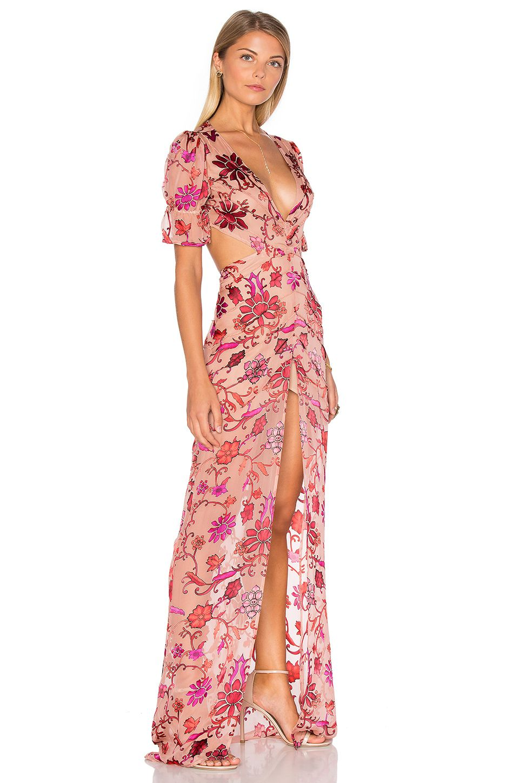 For Love & Lemons Saffron Maxi Dress in Sunset Floral | REVOLVE ...