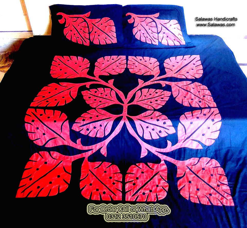 Best designs of patchwork or aplic work sindhi embroidery bed sheets