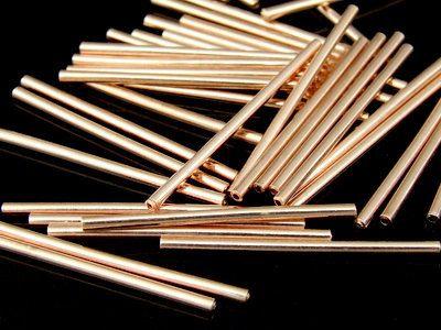 KZ-035 thai karen hill tribe handmade silver 30 rose gold vermeil plain tube bead