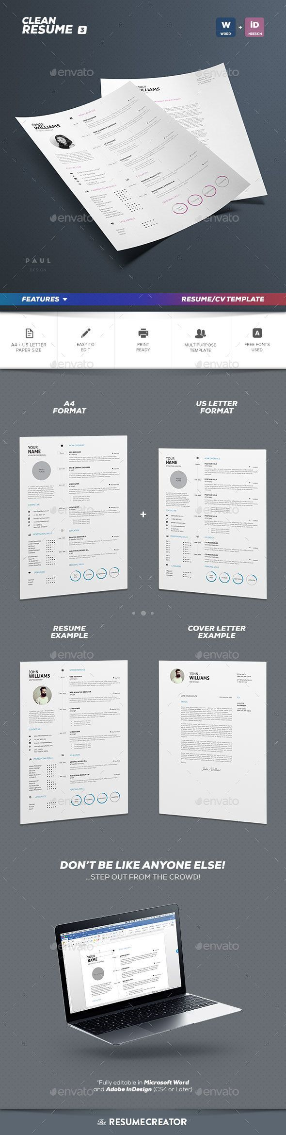 Clean Resume Vol 3 Resume Cv Creative Resume Templates And