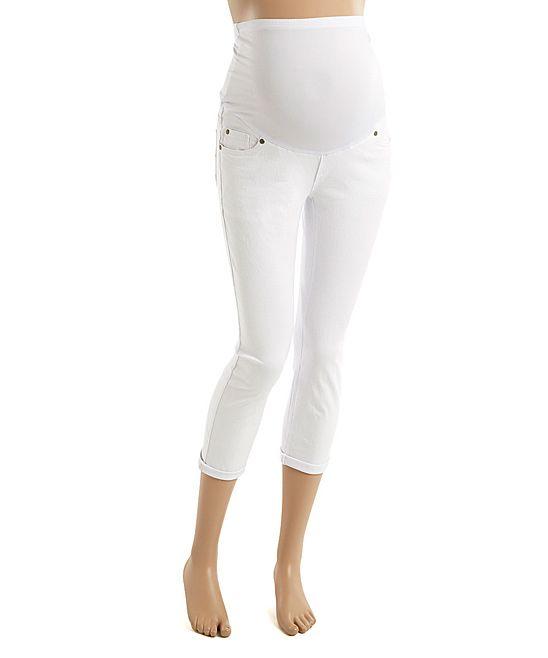 448ceb7cc64e3 White Over-Belly Maternity Capri Jeans | Products | Capri jeans ...
