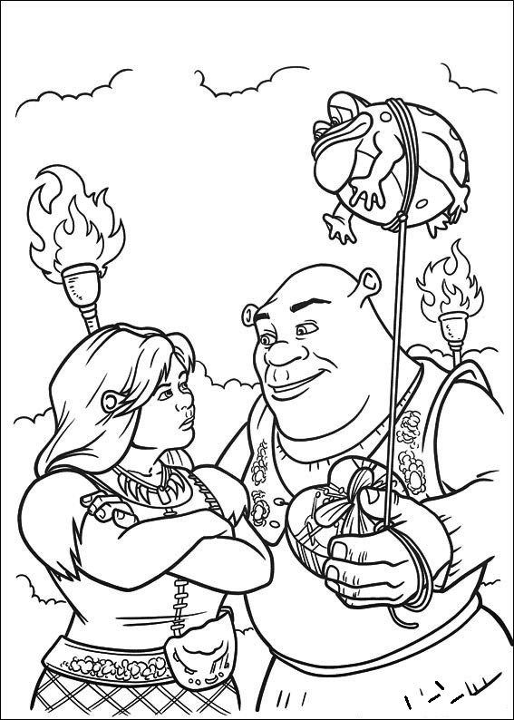 Shrek and Princess Fiona coloring page | animation series coloring ...