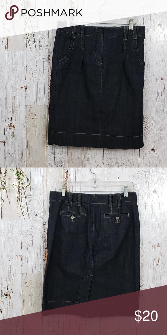 ee2f564d44 Ann Taylor Loft denim skirt Excellent pre loved condition Dark wash denim  skirt. 2 front pockets, 2 back pockets Knee length. Ann Taylor Skirts Midi