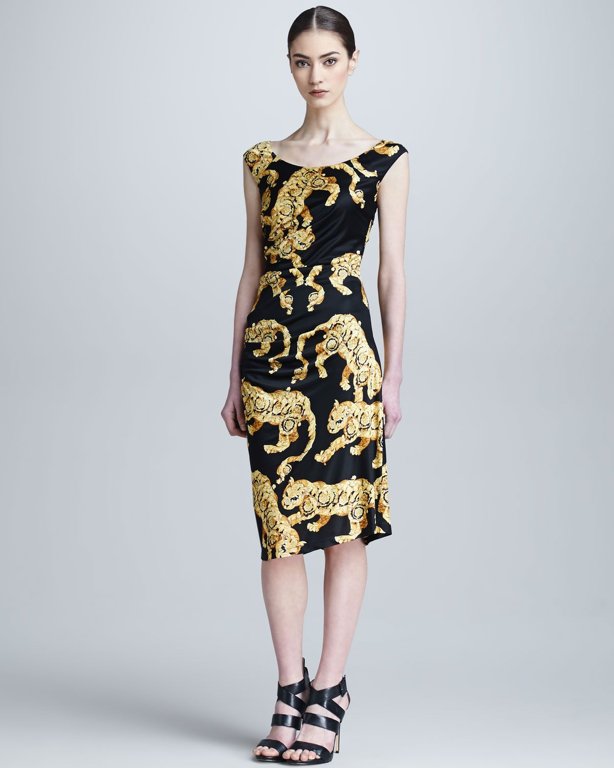 95b49f13f47c Versace Collection Tiger Baroque Print Ruched Dress - Neiman Marcus ...