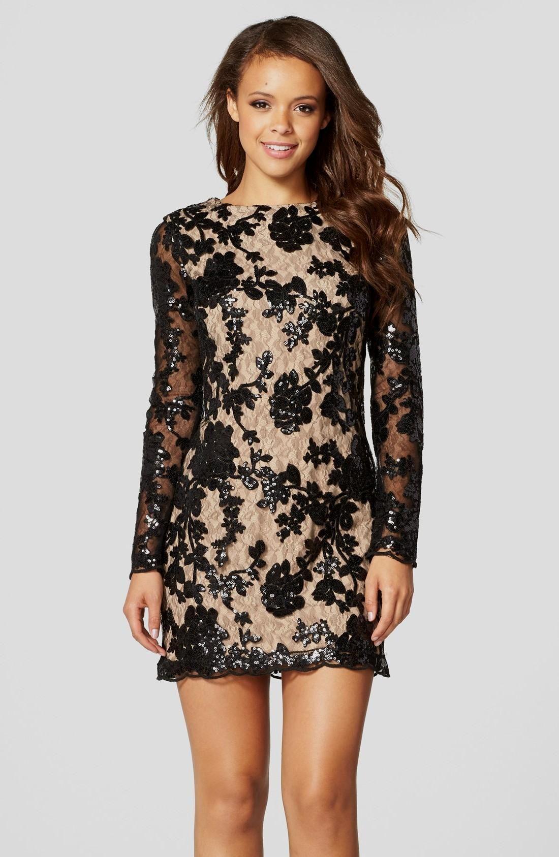 Lace overlay long sheath dress