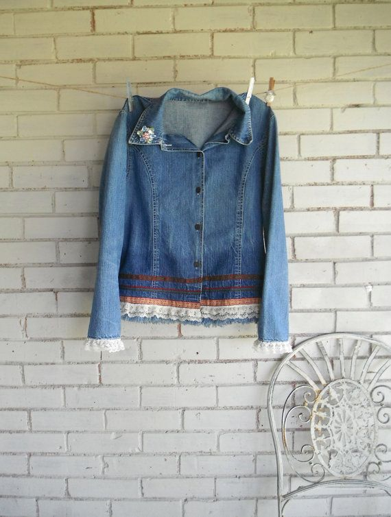 denim jacket upcycled cottage chic ladies faded blue by ShabbyRoad