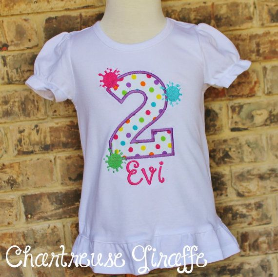 Personalized Girl's Paint Splatter Birthday by JennsCGBoutique