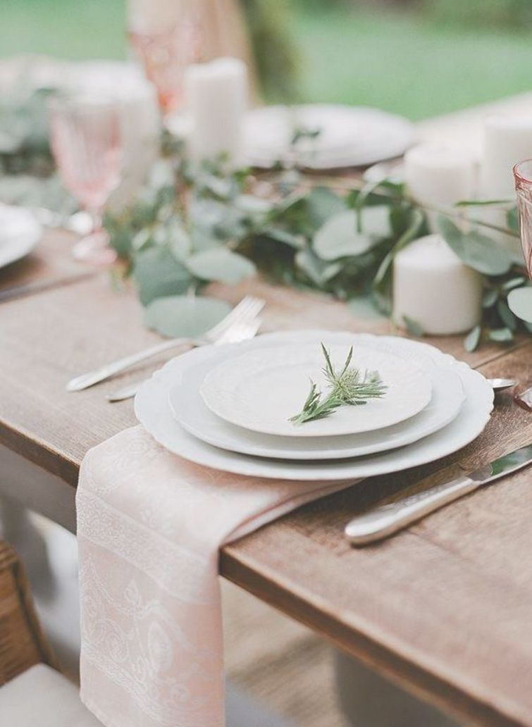 Simple Table Setting Organic Palate With Rustic White Dinnerware