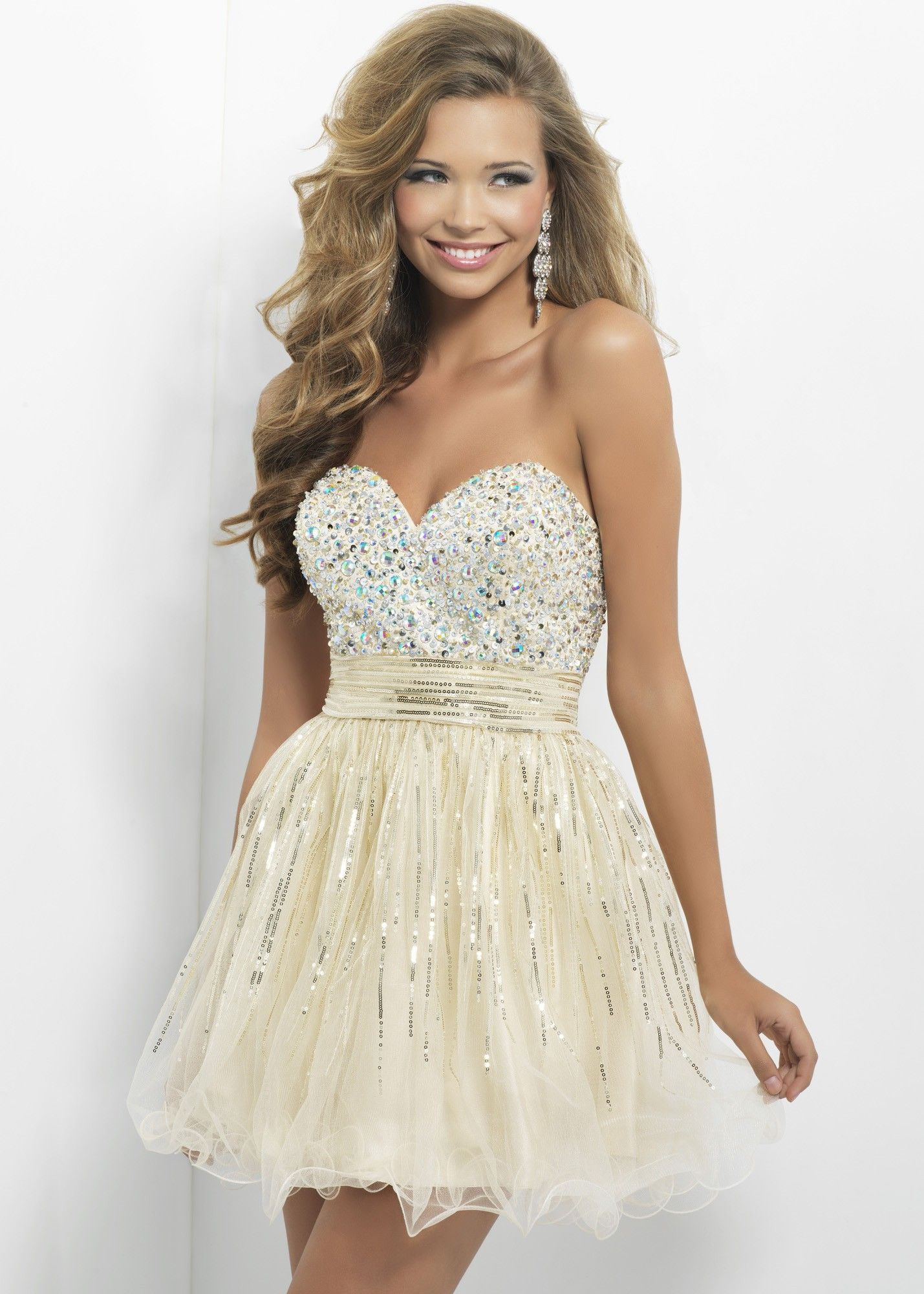 Blush prom sparkly party dress sparkling fit and flare sexy