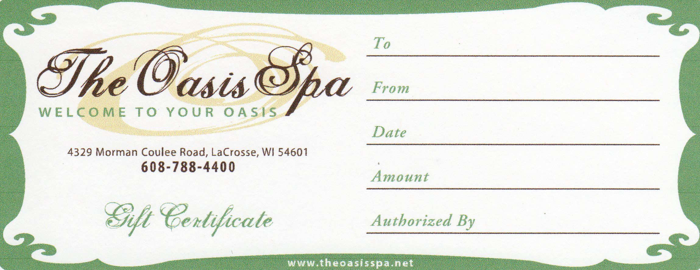 Gift Certificate Example Gift Certificate Template Spa Gift Certificate Certificate Templates Spa gift certificates templates free