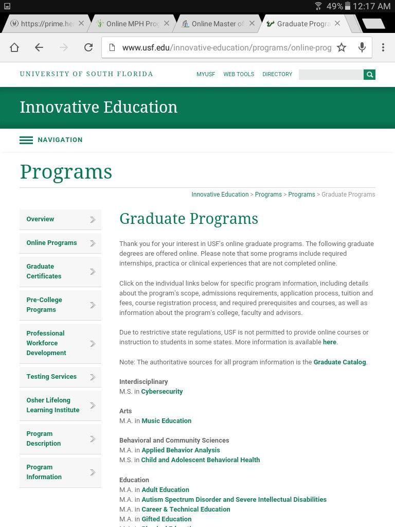 Masters In Epidemiology University Of South Florida With Images Innovative Education University Of South Florida Graduate Program