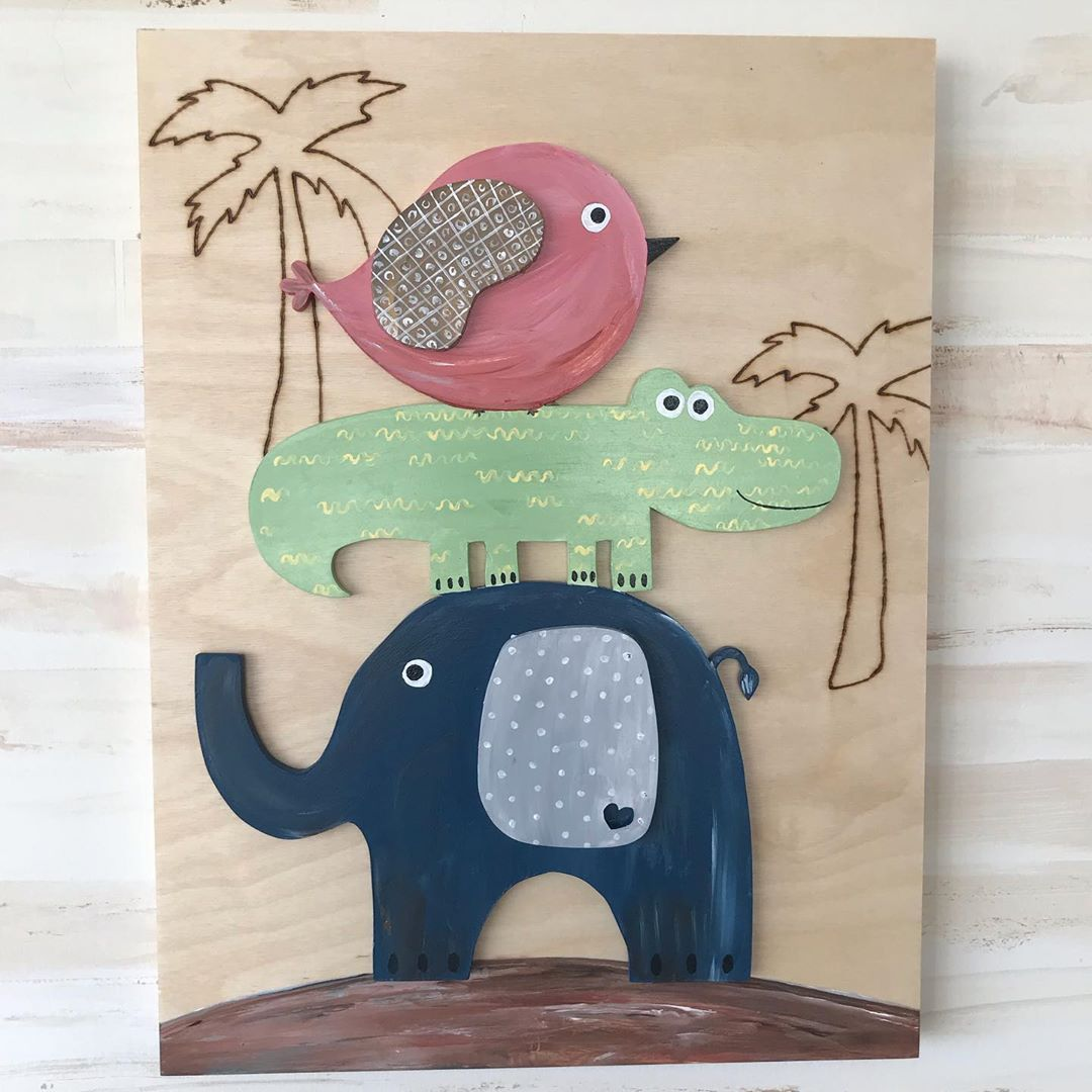 Adorable Wood Art Ready To Be Hanged On The Wall Ad Colours To Your Baby Or Kids Room Wall Art Wood Art Animals Baby Animals Babys