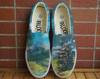 Howl's Moving Castle. Free shipping! Hand painted shoes. Anime shoes. Totoro. chaussure miyazaki. Howl's Castle