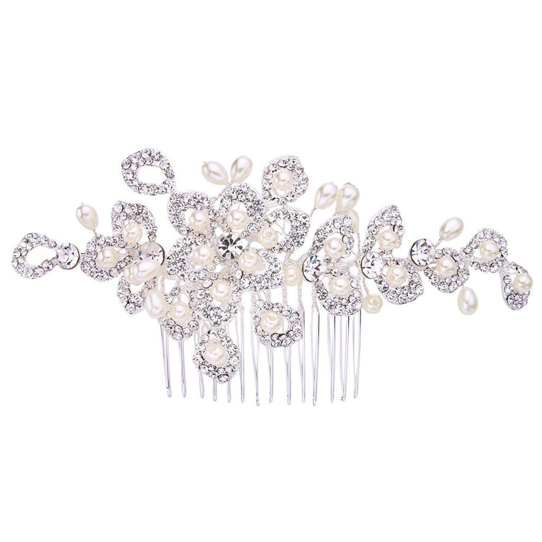 EVER FAITH Austrian Crystal Bridal Hibiscus Cream Simulated Pearl Hair Clip Barrette Silver-Tone RqkeqM