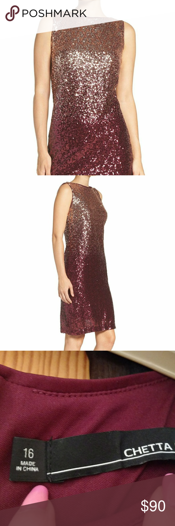 6b58c571 Chetta B NWT Ombre' Sequin Cocktail dress Rose/gold/Merlot sparkling sequined  ombre' dress. Was my runner-up dress for a gala event - to die for!