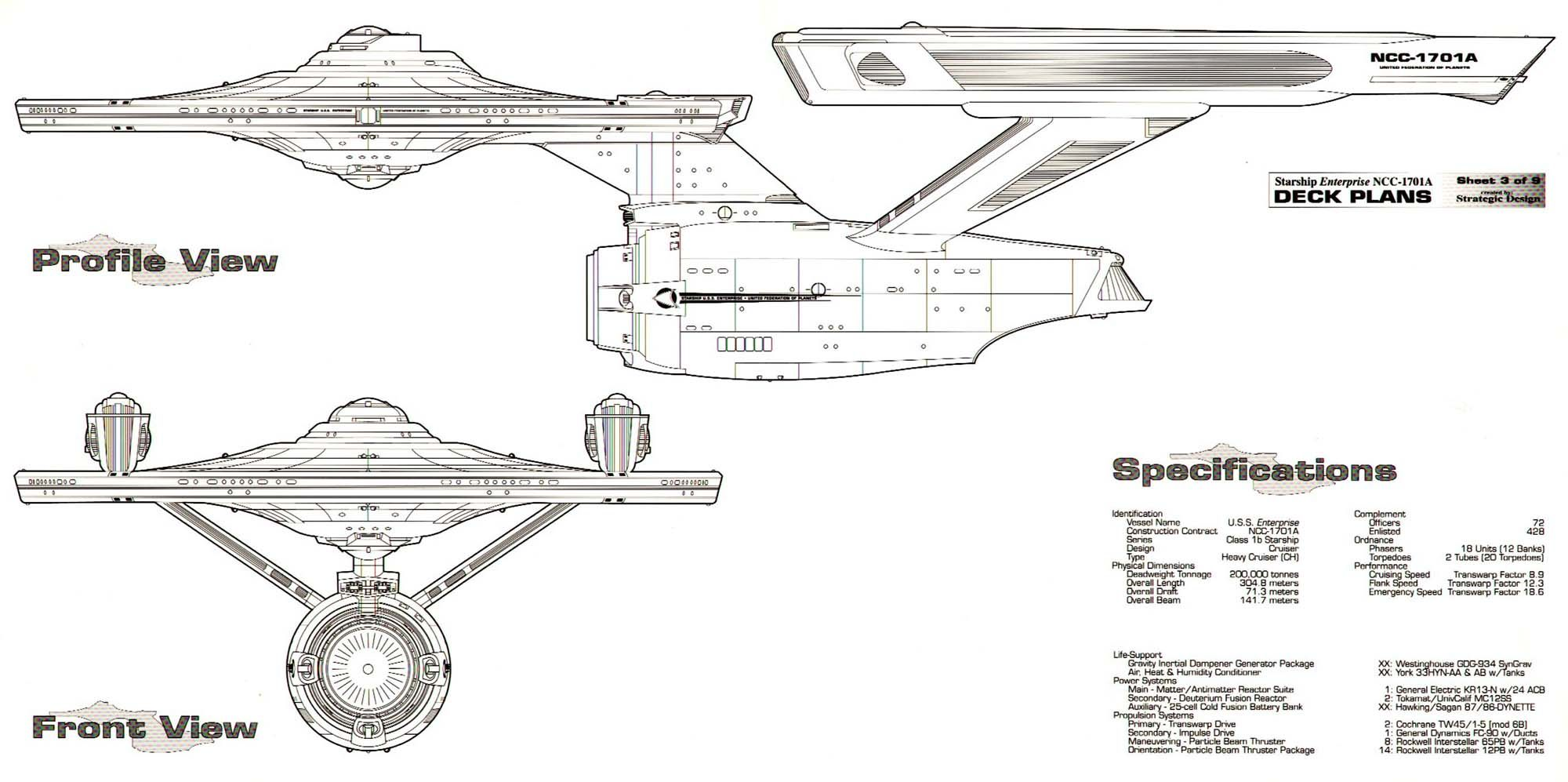 U.S.S Enterprise NCC-1701A Deck Plans