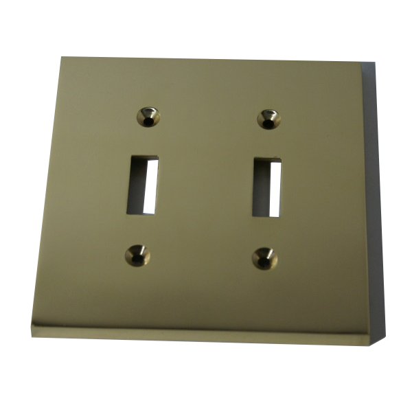 Modern Square Switch Plate Double - Double toggle switch plate: Double toggle switch plate, craft your home with beautiful metal in numerous finishes.