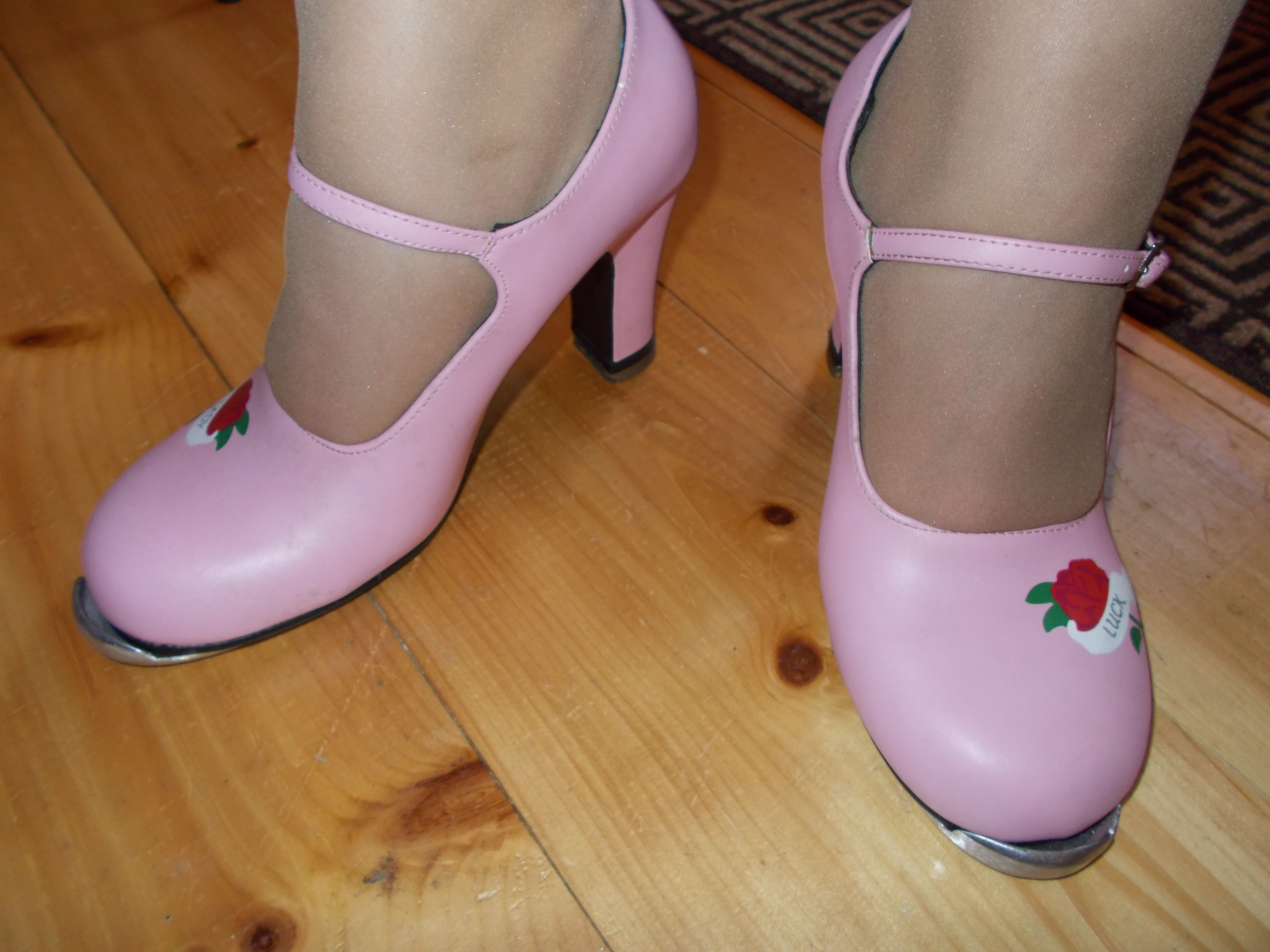 Pink Tap Dance Shoes With A Little Flower Tap Dance Honey Shoes