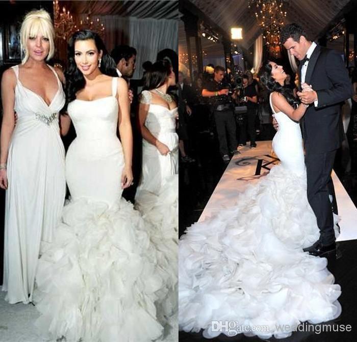 Whole Mermaid Wedding Dresses Kim Kardashian Spaghetti Lace Corset Layered Ruffles Chapel Train