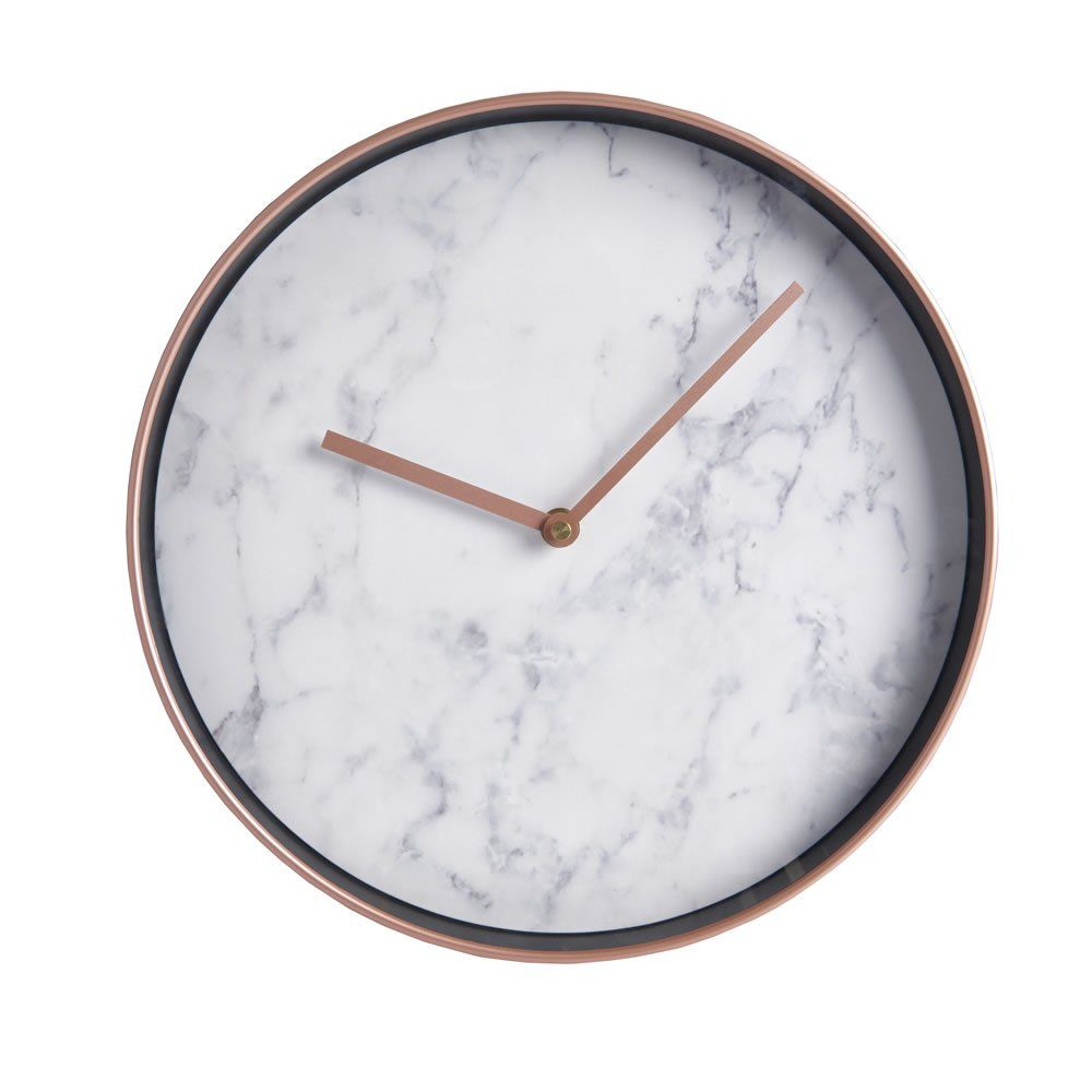 Marble And Copper Effect Wall Clock Marble Room Decor Black Room Decor Marble Room