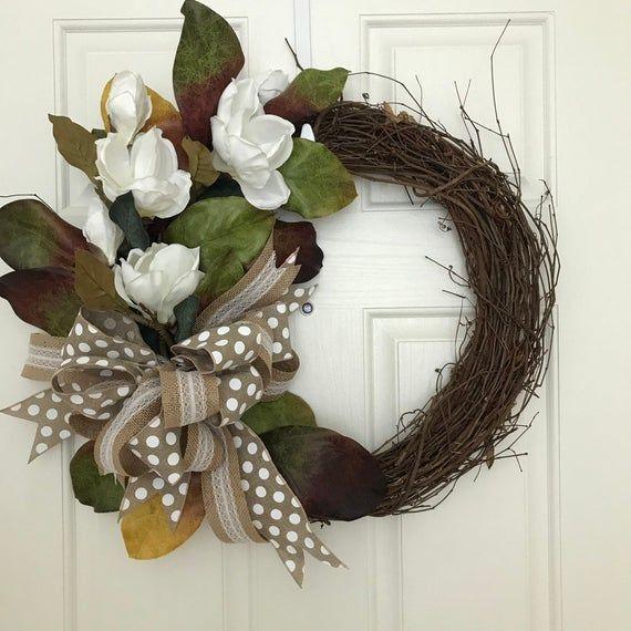 Photo of Items similar to White Magnolia Wreath, Farmhouse Wreath, Country Wreath, Flower Wreath, Spring Wreath, Summer Wreath, Grapevine Wreath on Etsy