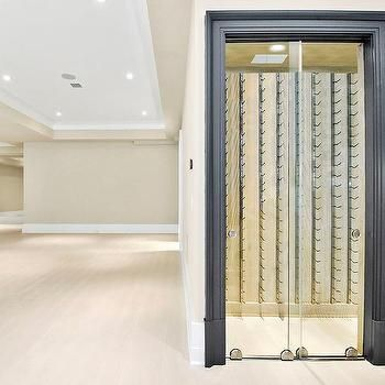 Basement Wine Cellar With Glass Sliding Doors Basement Design