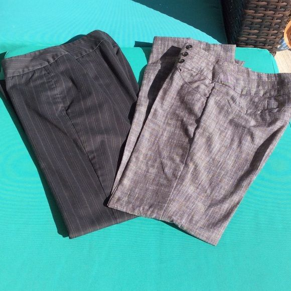 """SLACKS BUNDLE OF 2 Dockers and Chime. Both size 5. Charcoal gray varied pinstripe dockers. Stain resistant. Heavy twill fabric. Button slide closure. Side pockets.   Chime are a silk blend. Need proper hem but are tacked at 31"""" inseam. Dockers are 30"""".   Chime slack worn once. Wide waist band with 3 button closure. Both straight legs. Dockers/Chime Pants Trousers"""