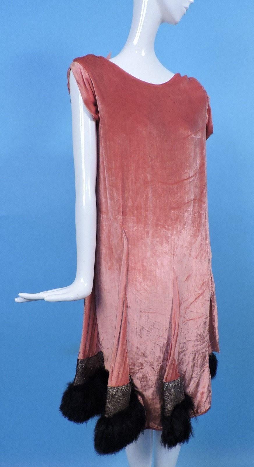 1920\'s Orange Panne Velvet Flapper Dress w Lame Lame Tassels ...