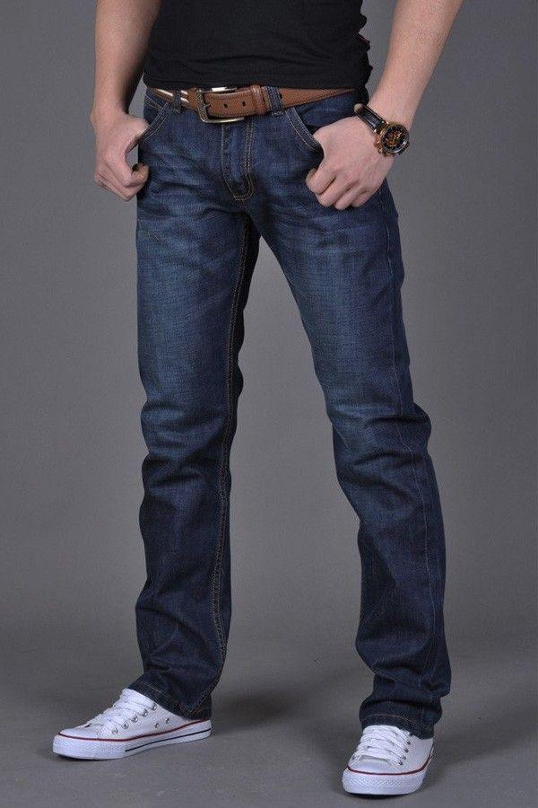 Mens Slim Fit Dark Blue Jeans Straight Leg Trousers Spring Autumn ...