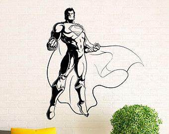 Superman Wall Decal Vinyl Stickers Comics Superhero Interior Home Design  Wall Art Murals Bedroom Decor (11su01n)