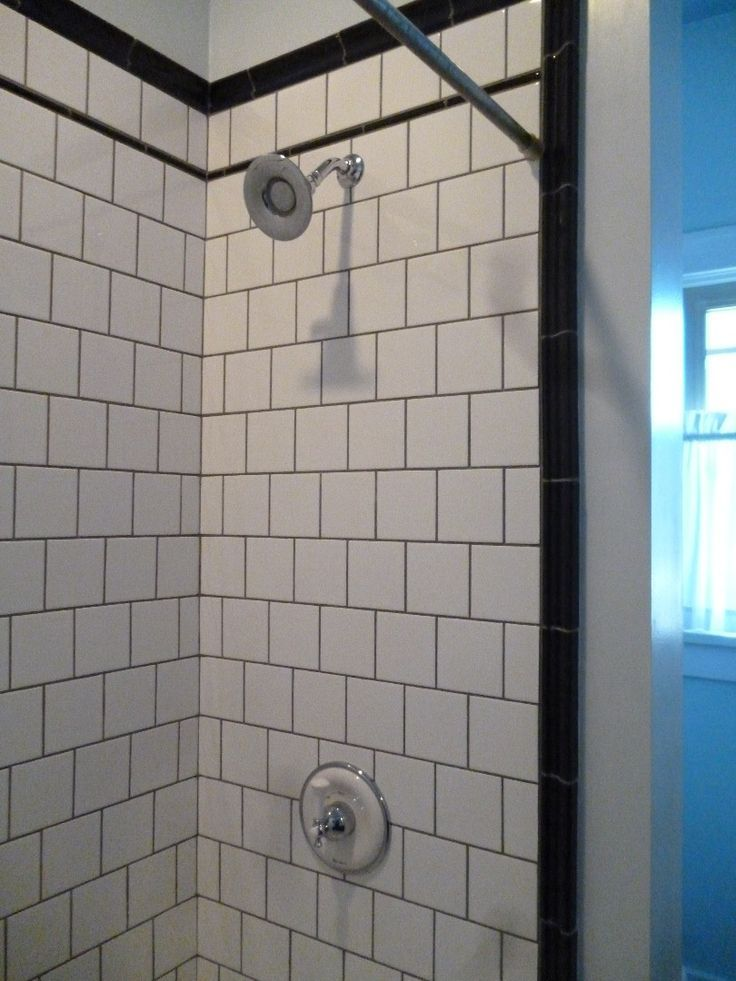 6x6 White Tile Running Bond Gray Grout Home Design Bathroom