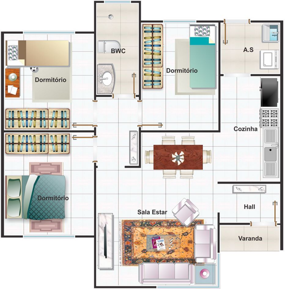 Planos de casas peque as con medidas en metros de una for Medidas de muebles en planta