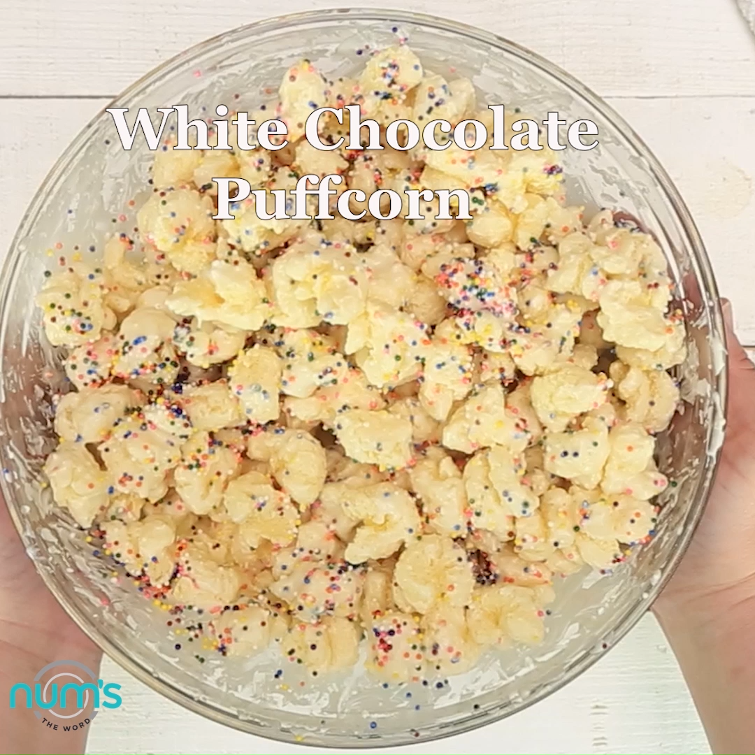 White Chocolate Puffcorn White Chocolate Puffcorn is the easiest 10 minute treat that works well at any gathering! Baby Shower, Bridal Shower, Birthday Party or Christmas gift!