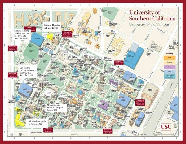 usc campus map columbia Usc Campus Map Campus Map University Of Southern California Campus usc campus map columbia