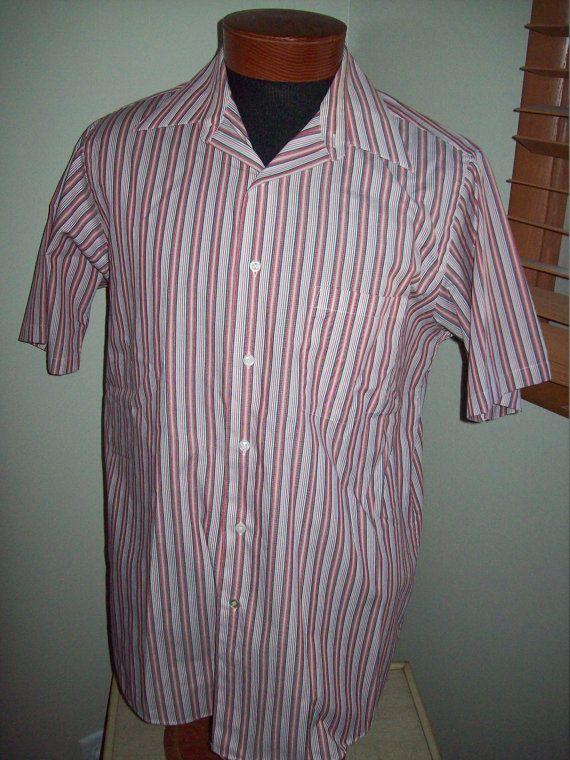 Vintage 70s 80s Arrow Red White Black Striped Mens Lounge Shirt